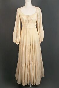 VTG Women's 70s Ivory Gunne Sax Empire Waist Maxi Dress Sz S 1970s Wedding