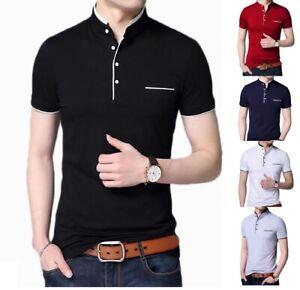 Men's Grandad Shirts Polo Shirt Short Sleeve Mandarin Collar Slim Fit Pique PL08
