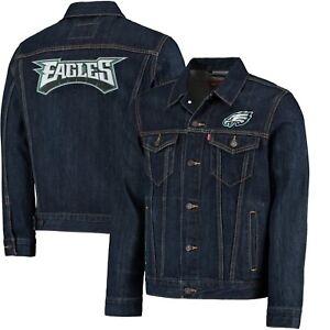 New LEVI'S NFL Denim Trucker Jacket Philadelphia Eagles Size 3XL Super Bowl 52