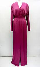 Nuevo Jersey Halston Heritage Kimono años 70 Largo Maxi Vestido Talla 12 púrpura Split