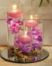 Set of 3 Floating Candles in Glass Holder with flowers and pebbles