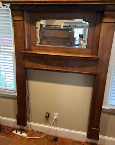 ANTIQUE QUARTER SAWN OAK FIREPLACE MANTLE with MIRROR and BOX COLUMNS