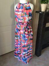 Jessica Simpson Maxi Dress Women's Sz 12 Boho Halter Floral Chiffon Pink Roses