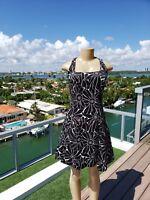 Ralph Lauren Women's Black and White Floral Print Sleeveless Dress Size 6