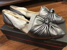VINCE CAMUTO MORESSA BOW-WRAPPED FLATS Size 9.5M Pewter Metallic NEW $180