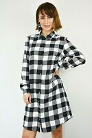New Womens Ex Cameo Rose Black & White Check Brushed Longline Shirt Size 8-14