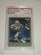 BARRY SANDERS (Detroit Lions) Signed 1991 FLEER PRO VISION Card #2 PSA Certified