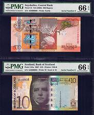 Scotland £10 & Seychelles 50 Rupees Matching Low Sr Ad 000008 Gem Unc Pmg 66 Epq