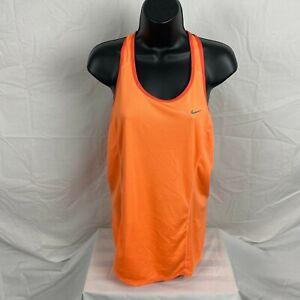 Nike Dri-Fit Wonens Solid Orange Sleeveless Racerback Tank Top Size Large