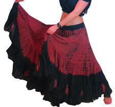 25 Yard Skirt Gypsy Tribal Cotton Skirts Belly Dance Dancing  Black Maroon