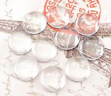 25 klare GLAS CABOCHON Rund 12 mm flach NEU Glasstein Klebstein NEU CS12M