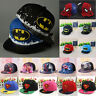 Kids Superhero Batman Superman Baseball Clip-on Cap Hat One Size Fits Most ❤Aus❤