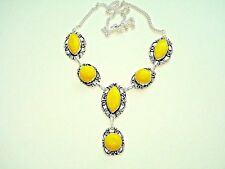 AB Bright Yellow Agate One-of-a-Kind Station Necklace Pendant .925 Silver 19""
