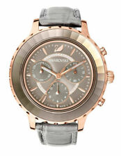 Swarovski Octea Lux Chrono 39.5 mm Rose Gold-Plated Case Women's Grey Leather Strap Wristwatch (5452495)