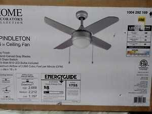 Home Decorators Collection Spindleton 36 in. Indoor Grey Ceiling Fan with Light