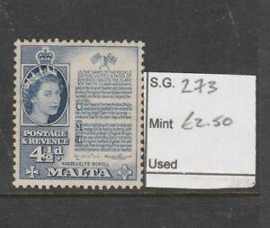 MALTA SG 273, 4½d deep blue, FINE MINT.