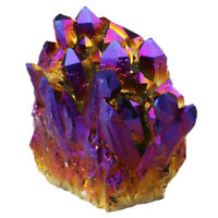 Purple Aura Flame Titanium Quartz Crystal Cluster Gemstone Mineral Specimens