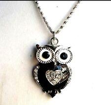 "Owl Heart Necklace Silver 18"" Box Chain Black Rhinestone Crystals Fashion USA"