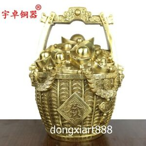 32.5 cm Chinese Pure brass Wealth Fengshui treasure bowl water bucket saving pot
