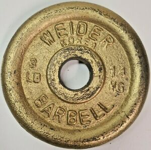 Vintage Weider Barbell Dumbbell 3 LB Weight Plates 1 Inch Gold