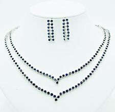 NECKLACE BLUE SAPPHIRE SYN SILVER 18K WHITE GOLD FILLED GP LINE WEDDING BRIDAL