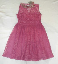 BNWT UK 10 EUR 38 ASOS PINK COCKTAIL PARTY LACE DRESS BEADED JEWELLED COLLAR