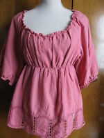 Max Studio Women's Rose Cotton Embroidered Tunic Top Petite Large