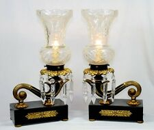 Pair of Antique Bronze & Iron Table Lamps #5860