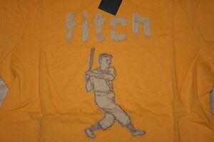 NWT Abercrombie Boys Medium Yellow Baseball Muscle Fit T-Shirt