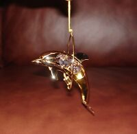 DOLPHIN~24K GOLD PLATED FIGURINE  ADORNED USING SWAROVSKI CRYSTAL ELEMENTS