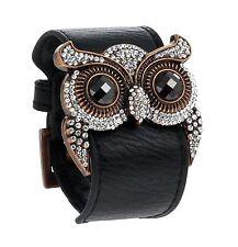 Women's Black Tera Leather Owl Cuff Bracelet