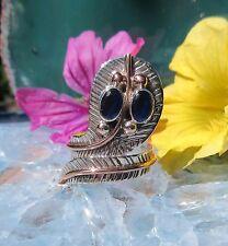 Anello cobra serpente OCCHI DI ZAFFIRO BLU montatura due colori argento 925