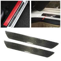 Car Carbon Fiber Door Sill Scuff Plate Step Protector Black Cover Accessories x2