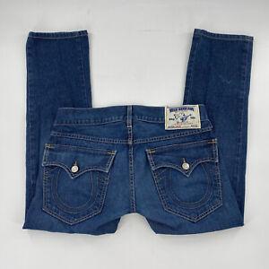 True Religion Jack Seat 34 Mens Size 34x29 Blue Jeans 5 Pockets Flap Pockets