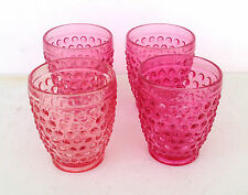 """ESTATE FIND-4 RASPBERRY PINK 4"""" HOBNAIL GLASS TUMBLERS LOT 2"""