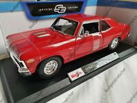 MAISTO 1:18 Scale - 1970 Chevrolet Nova SS Coupe - Red - Diecast Model Car