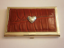 BUSINESS CREDIT CARD CASE HOLDER METAL RED LEATHER SILVER LOVE