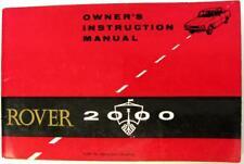 ROVER 2000 Aug 1966 Part no. 4804 Original Owners Car Handbook