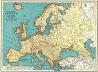 1937 Antique EUROPE Map 1930s Vintage Map of Europe Gallery Wall Art 8029