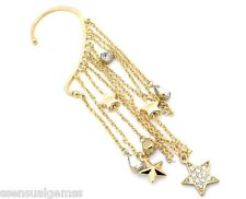 """Stars New Over Ear Earring 4"""" Long Hooks Over Ear Cuff No Piercing Gold Plated"""