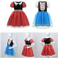 Girls Cowgirl Dress Costumes Halloween Party Puff Sleeve Tutu Mesh Skirt Clothes