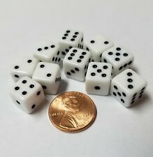 10x White Mini 10mm Dice With Pips, Very Small Dice, Backgammon & Other Games
