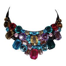 New Multi Colored Rhinestone Bib with Ribbon Necklace