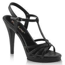 "Fabulicious 4.5"" Heel Mini Platform Matte Black Buckle Multi Strap Sandals 5-16"