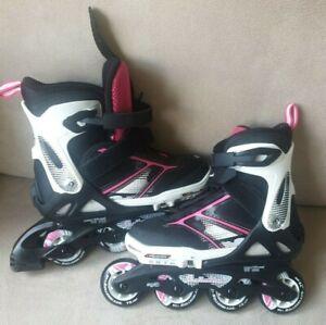 Rollerblade Spitfire G Black / Pink Inline Skates 72mm Adjustable Size 4 junior