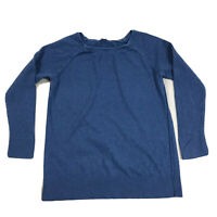 Loft Ann Taylor Round Neck Pullover Shirt Womens Size Large Blue Long Sleeve