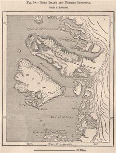 Disko Island and Nursoak Peninsula.Greenland.Qeqertarsuaq.Diskoøen 1885 map