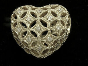 s Bd065 Genuine 9K 9ct White Gold NATURAL Diamond studded HEART Bead LOVE Charm