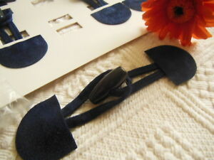 brandebourg attache bouton gilet veste bleu foncé effet Daim 14,5 cm