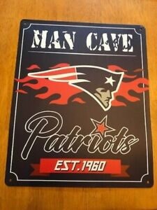 """NFL New England Patriots Man Cave Metal Sign 14.5"""" X 12"""" NWT FAST SHIPPING"""